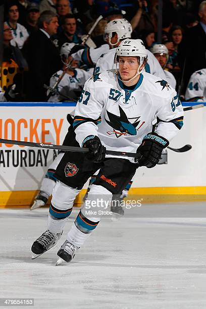 Tommy Wingels of the San Jose Sharks skates against the New York Islanders at Nassau Veterans Memorial Coliseum on March 14 2014 in Uniondale New...