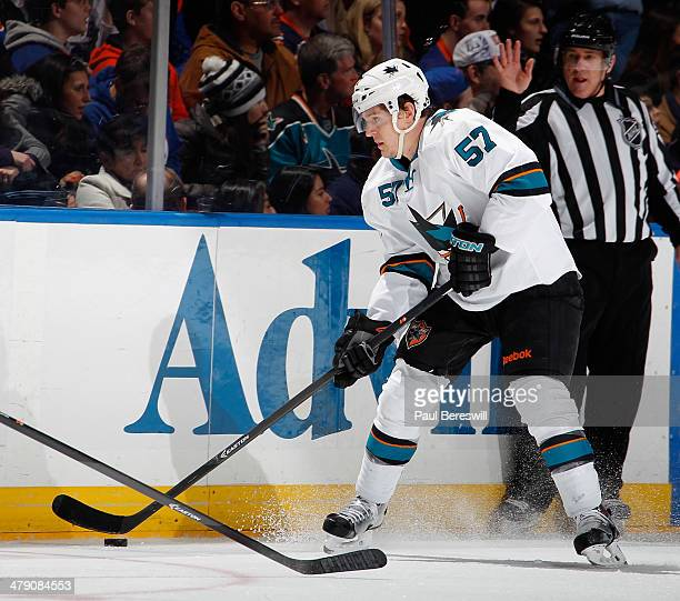 Tommy Wingels of the San Jose Sharks skates during an NHL hockey game against the New York Islanders at Nassau Veterans Memorial Coliseum on March 14...