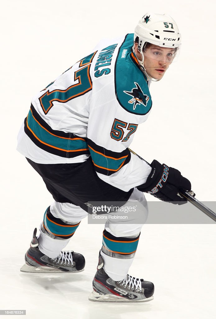 <a gi-track='captionPersonalityLinkClicked' href=/galleries/search?phrase=Tommy+Wingels&family=editorial&specificpeople=5807738 ng-click='$event.stopPropagation()'>Tommy Wingels</a> #57 of the San Jose Sharks skates during the game against the Anaheim Ducks on March 25, 2013 at Honda Center in Anaheim, California.