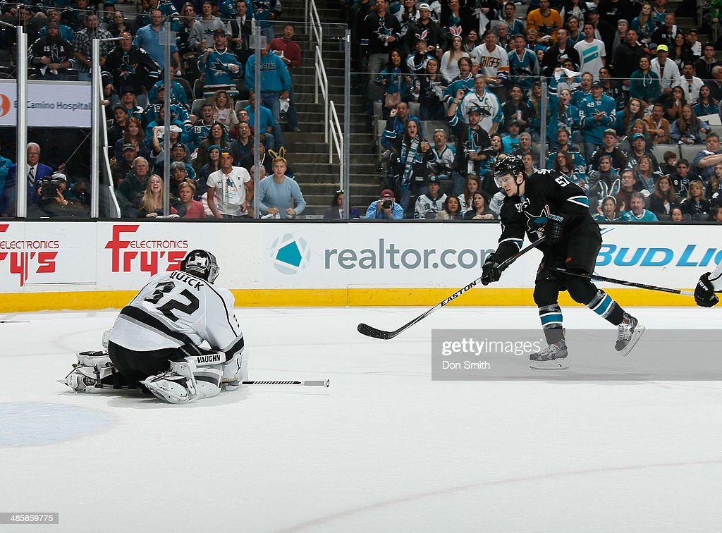 Tommy Wingels #57 of the San Jose Sharks takes a shot against Jonathan Quick #32 of the Los Angeles Kings in Game Two of the First Round of the 2014 Stanley Cup Playoffs at SAP Center on April 20, 2014 in San Jose, California.