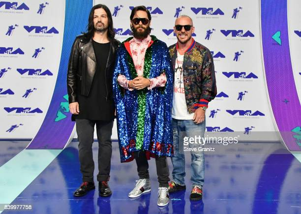 Tomo Milicevic Jared Leto and Shannon Leto attend the 2017 MTV Video Music Awards at The Forum on August 27 2017 in Inglewood California