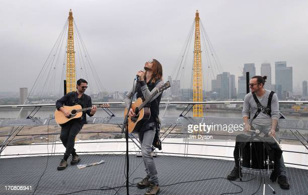 Tomo Milicevic Jared Leto and Shannon Leto of American rock band 30 Seconds To Mars performs during an acoustic set on top of The 02 Arena as the...