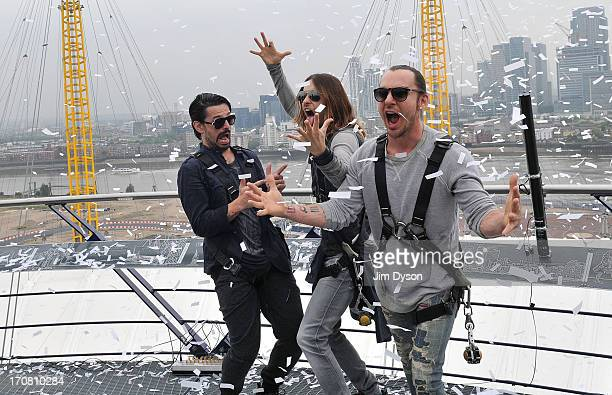 Tomo Milicevic Jared Leto and Shannon Leto of American rock band 30 Seconds To Mars pose on top of The 02 Arena as the band announce a UK Ireland...