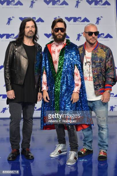 Tomo Milicevic Jared Leto and Shannon Leto of Thirty Seconds to Mars attend the 2017 MTV Video Music Awards at The Forum on August 27 2017 in...