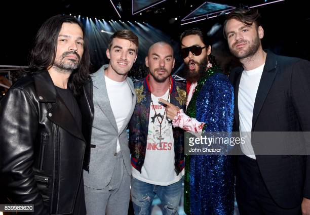 Tomo Milicevic of Thirty Seconds to Mars Andrew Taggart of The Chainsmokers Shannon Leto and Jared Leto of Thirty Seconds to Mars and Alex Pall of...