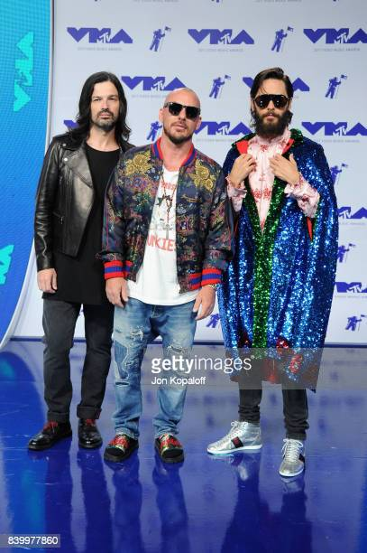 Tomo Milicevic Shannon Leto and Jared Leto attend the 2017 MTV Video Music Awards at The Forum on August 27 2017 in Inglewood California
