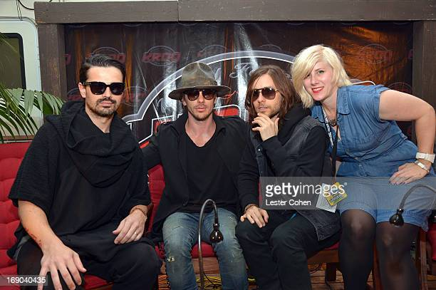 Tomo Milicevic Shannon Leto and Jared Leto of 30 Seconds to Mars and KROQ's DJ Kat attend KROQ Weenie Roast Y Fiesta at Verizon Wireless Amphitheater...