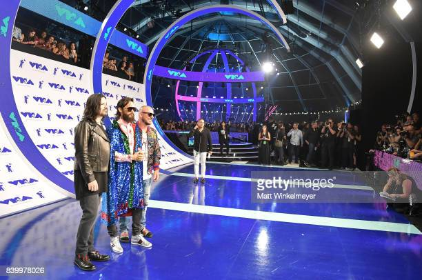 Tomo Milicevic Shannon Leto and Jared Leto of musical group Thirty Seconds to Mars attend the 2017 MTV Video Music Awards at The Forum on August 27...