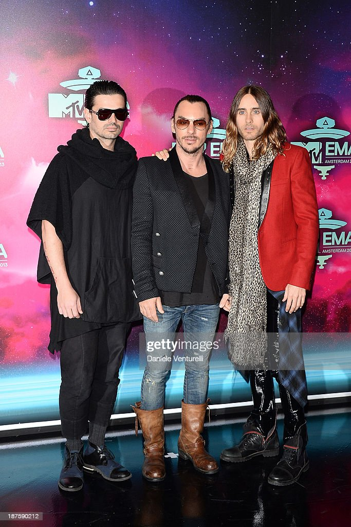 <a gi-track='captionPersonalityLinkClicked' href=/galleries/search?phrase=Tomo+Milicevic&family=editorial&specificpeople=1359203 ng-click='$event.stopPropagation()'>Tomo Milicevic</a>, <a gi-track='captionPersonalityLinkClicked' href=/galleries/search?phrase=Shannon+Leto&family=editorial&specificpeople=764946 ng-click='$event.stopPropagation()'>Shannon Leto</a> and <a gi-track='captionPersonalityLinkClicked' href=/galleries/search?phrase=Jared+Leto&family=editorial&specificpeople=214764 ng-click='$event.stopPropagation()'>Jared Leto</a> of Thirty Seconds To Mar attend the MTV EMA's 2013 at Ziggo Dome on November 10, 2013 in Amsterdam, Netherlands.