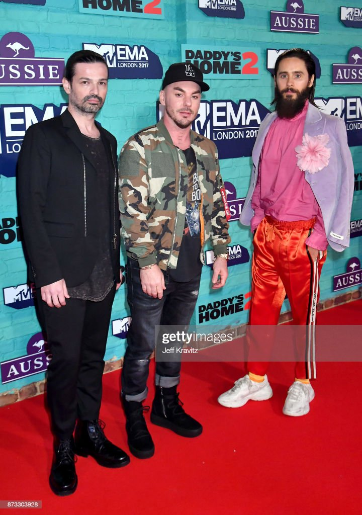 Tomo Milicevic, Shannon Leto and Jared Leto of Thirty Seconds to Mars attend the MTV EMAs 2017 held at The SSE Arena, Wembley on November 12, 2017 in London, England.