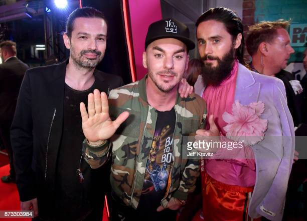 Tomo Milicevic Shannon Leto and Jared Leto of Thirty Seconds to Mars attend the MTV EMAs 2017 held at The SSE Arena Wembley on November 12 2017 in...