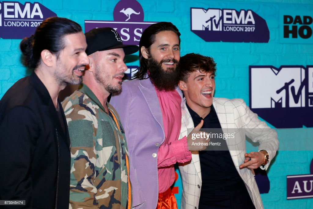 Tomo Milicevic, Shannon Leto and Jared Leto of Thirty Seconds to Mars and Lil' Kleine attend the MTV EMAs 2017 held at The SSE Arena, Wembley on November 12, 2017 in London, England.