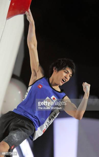 Tomoa Narasaki of Japan celebrates after competing in the Men's Bouldering Final during the IFSC Climbing Worldcup Hachioji at Esforta Arena Hachioji...