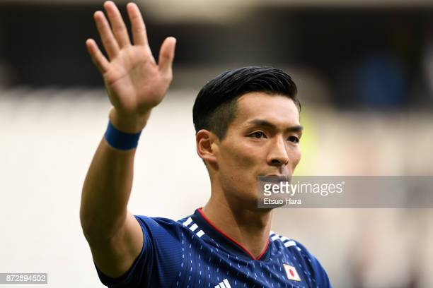 Tomoaki Makino of Japan applauds the fans after the international friendly match between Brazil and Japan at Stade PierreMauroy on November 10 2017...