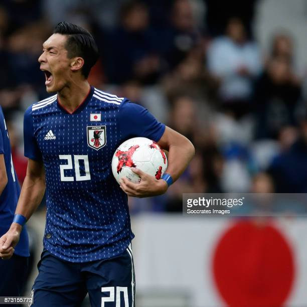 Tomoaki Makino of Japan celebrates 13 during the International Friendly match between Japan v Brazil at the Stade Pierre Mauroy on November 10 2017...