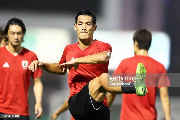 Tomoaki Makino of Japan in action during a training session ahead of the FIFA World Cup qualifier against Saudi Arabia at AlAhli Saudi Sports Club on...