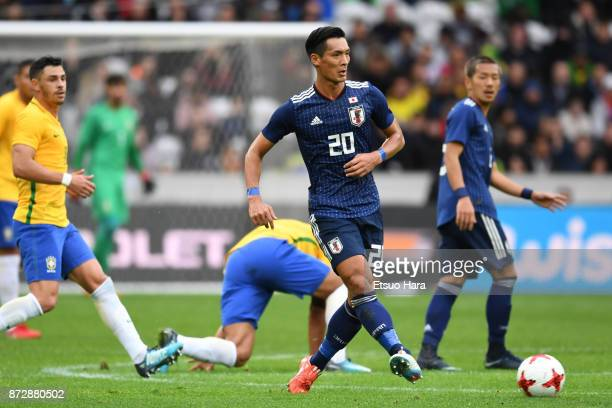 Tomoaki Makino of Japan in action during the international friendly match between Brazil and Japan at Stade PierreMauroy on November 10 2017 in Lille...