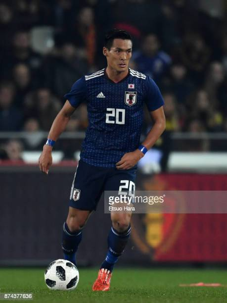 Tomoaki Makino of Japan in action during the international friendly match between Belgium and Japan at Jan Breydel Stadium on November 14 2017 in...