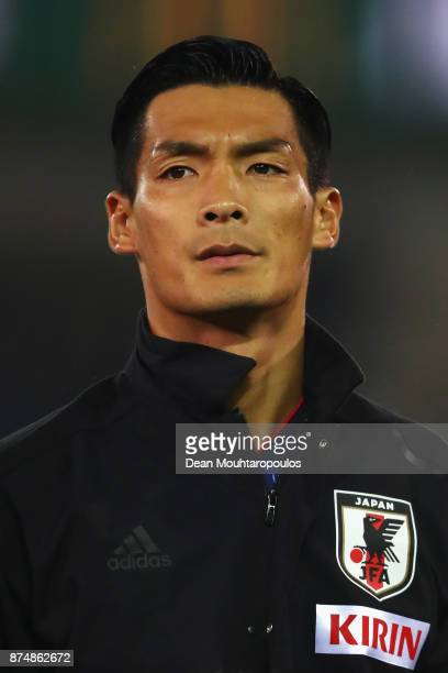 Tomoaki Makino of Japan lines up for the national anthem prior to the international friendly match between Belgium and Japan held at Jan Breydel...