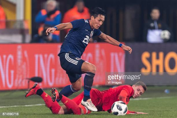 Tomoaki Makino of Japan Thorgan Hazard of Belgium during the friendly match between Belgium and Japan on November 14 2017 at the Jan Breydel stadium...