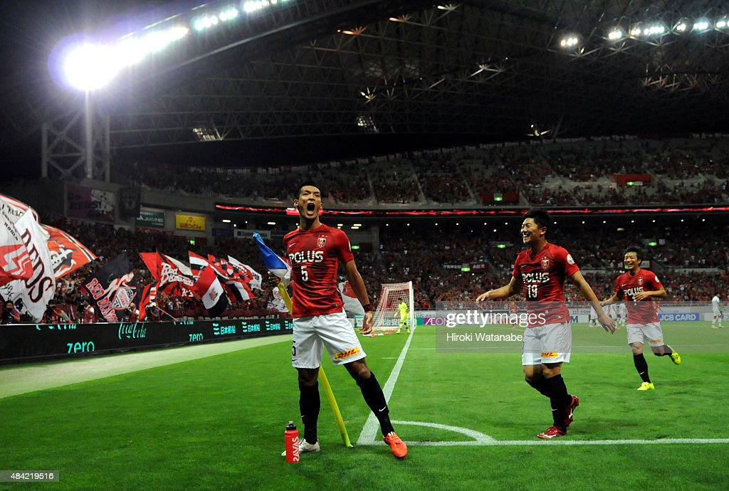 <a gi-track='captionPersonalityLinkClicked' href=/galleries/search?phrase=Tomoaki+Makino&family=editorial&specificpeople=775804 ng-click='$event.stopPropagation()'>Tomoaki Makino</a> of Urawa Red Diamonds celebrates scoring his team's first goal during the J.League match between Urawa Red Diamonds and Shonan Bellmare at Saitama Stadim on August 16, 2015 in Saitama, Japan.