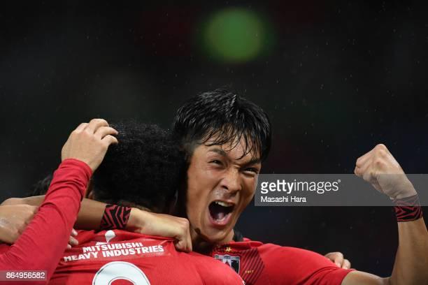 Tomoaki Makino of Urawa Red Diamonds celebrates their first goal during the JLeague J1 match between Urawa Red Diamonds and Gamba Osaka at Saitama...