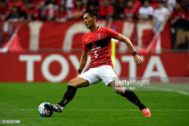 Tomoaki Makino of Urawa Red Diamonds in action during the AFC Champions League Group H match between Urawa Red Diamonds and Guangzhou Evergrande at...