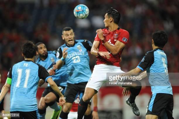 Tomoaki Makino of Urawa Red Diamonds in action during the AFC Champions League quarter final second leg match between Urawa Red Diamonds and Kawasaki...