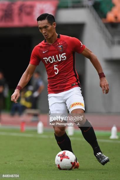 Tomoaki Makino of Urawa Red Diamonds in action during the JLeague J1 match between Jubilo Iwata and Urawa Red Diamonds at Shizuoka Stadium Ecopa on...