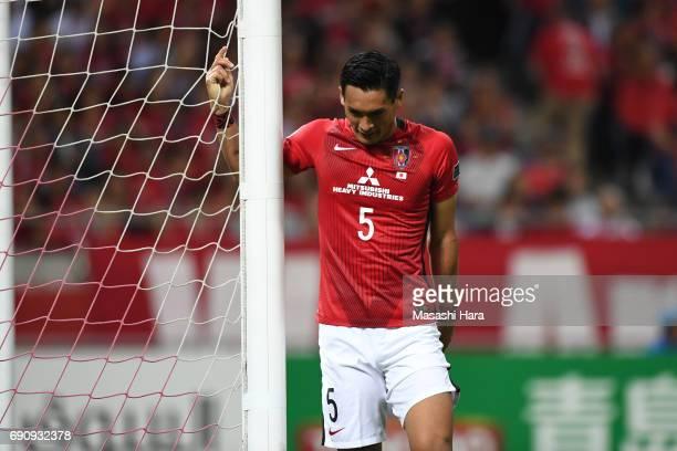 Tomoaki Makino of Urawa Red Diamonds looks on during the AFC Champions League Round of 16 match between Urawa Red Diamonds and Jeju United FC at...