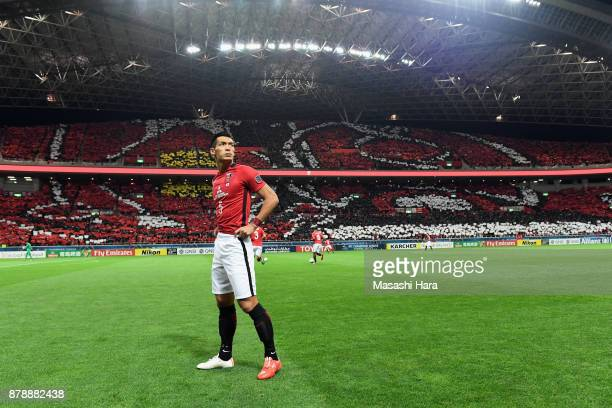 Tomoaki Makino of Urawa Red Diamonds looks on prior to the AFC Champions League Final second leg match between Urawa Red Diamonds and AlHilal at...