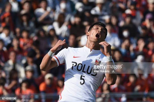 Tomoaki Makino of Urawa Red Diamonds reacts after an attempt at goal during the JLeague J1 match between Omiya Ardija and Urawa Red Diamonds at Nack...