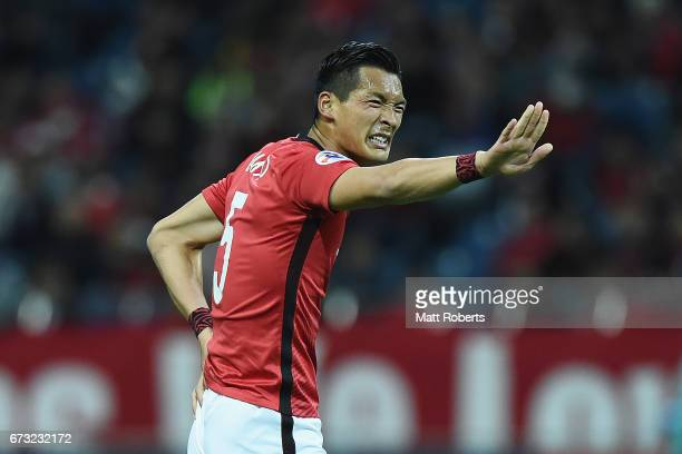 Tomoaki Makino of Urawa Red Diamonds reacts during the AFC Champions League Group F match between Urawa Red Diamonds and Western Sydney Wanderers at...
