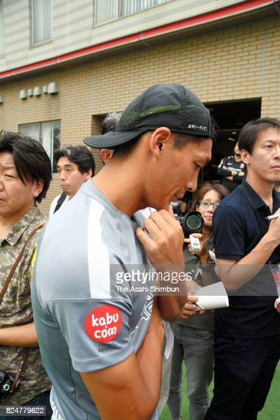 Tomoaki Makino of Urawa Red Diamonds speaks to media reporters after the club announcing the sacking of head coach Petro Mihailovic on July 30 2017...