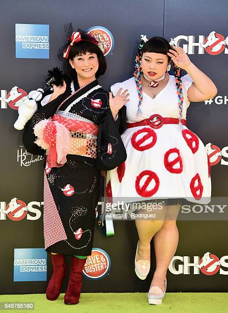 Tomochika and Naomi Watanabe arrive at the Premiere of Sony Pictures' 'Ghostbusters' at TCL Chinese Theatre on July 9 2016 in Hollywood California