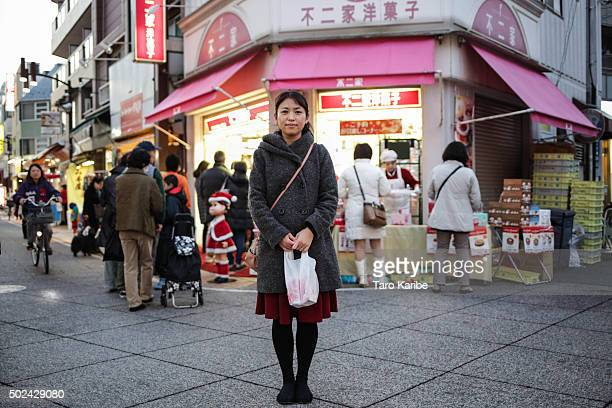 Tomoe Kumagai 34 years old bought Christmas cake for her husband on December 24 2015 in Tokyo Japan Some of the popular ways to spend the Japanese...