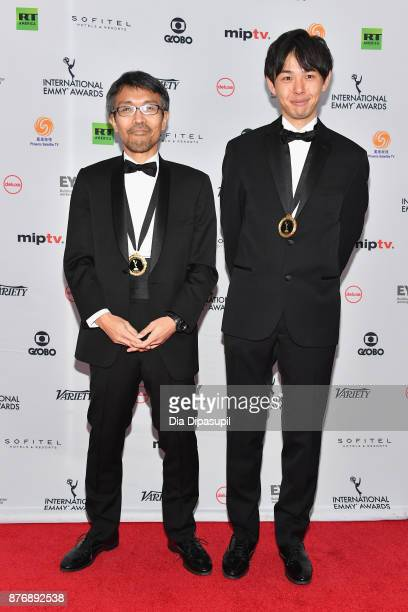 Tomohiko Yokoyama and Takayoshi Aizawa of The Phone of the Wind Whispers to Lost Families attends the 45th International Emmy Awards at New York...