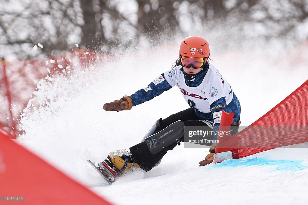 <a gi-track='captionPersonalityLinkClicked' href=/galleries/search?phrase=Tomoka+Takeuchi&family=editorial&specificpeople=6719453 ng-click='$event.stopPropagation()'>Tomoka Takeuchi</a> of Japan competes in the Ladies Parallel Giant Slalom on the day one during FIS Snowboard World Cup - Alpine Snowboard on February 28, 2015 in Asahikawa, Japan.