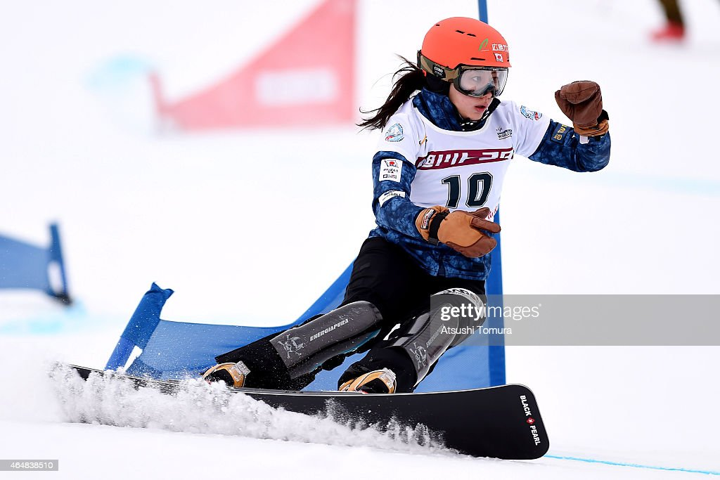 <a gi-track='captionPersonalityLinkClicked' href=/galleries/search?phrase=Tomoka+Takeuchi&family=editorial&specificpeople=6719453 ng-click='$event.stopPropagation()'>Tomoka Takeuchi</a> of Japan competes in the Ladies Parallel Slalom on the day two during FIS Snowboard World Cup - Alpine Snowboard on March 1, 2015 in Asahikawa, Japan.