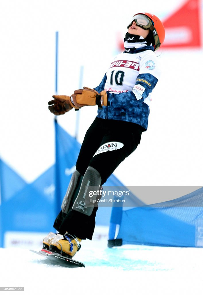 <a gi-track='captionPersonalityLinkClicked' href=/galleries/search?phrase=Tomoka+Takeuchi&family=editorial&specificpeople=6719453 ng-click='$event.stopPropagation()'>Tomoka Takeuchi</a> of Japan reacts after competing in the Ladies Parallel Slalom during day two of the FIS Snowboard World Cup - Alpine Snowboard at Santa Present Park on March 1, 2015 in Asahikawa, Hokkaido, Japan.