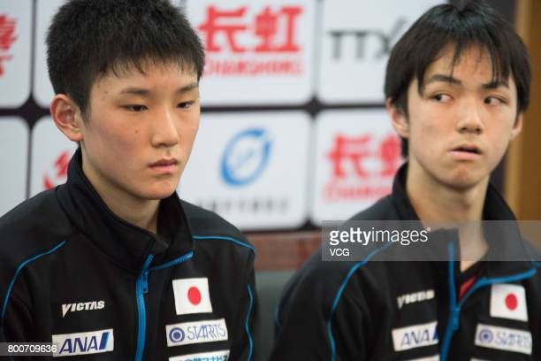 Tomokazu Harimoto and Koki Niwa of Japan attend a press conference after Men's doubles final match against Maharu Yoshimura and Jin Ueda of Japan...