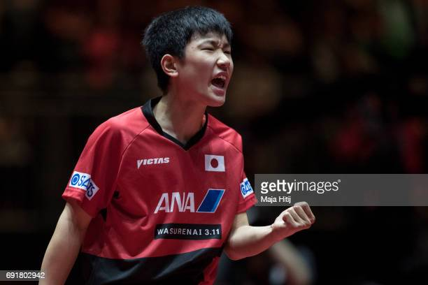 Tomokazu Harimoto celebrates during Men's Singles against Lubomir Pistej of Slovakia at Table Tennis World Championship at Messe Duesseldorf on June...