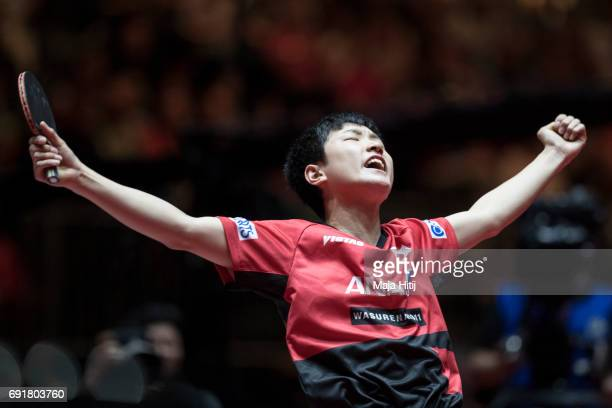 Tomokazu Harimoto celebrates during Men's Singles eightfinals at Table Tennis World Championship at Messe Duesseldorf on June 3 2017 in Dusseldorf...