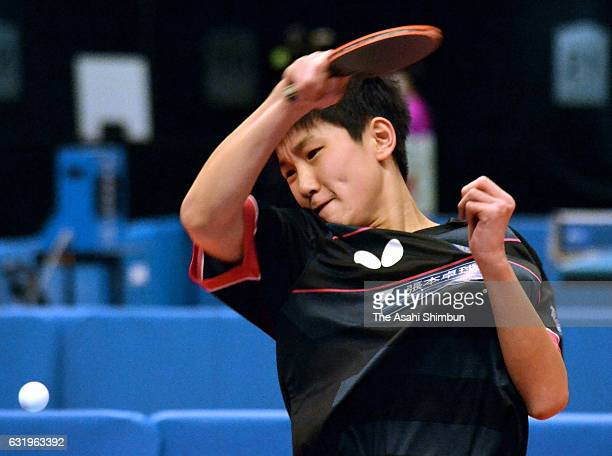 Tomokazu Harimoto competes in a Men's Singles match during day three of the All Japan Table Tennis Championships at Tokyo Metropolitan Gymnasium on...