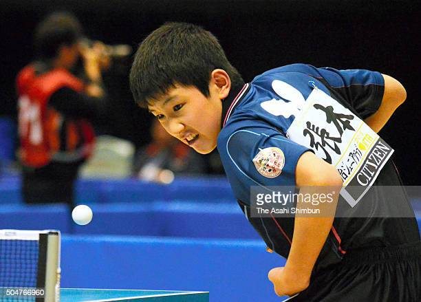 Tomokazu Harimoto competes in the Men's Singles second round during day three of the All Japan Table Tennis Championships at the Tokyo Metropolitan...
