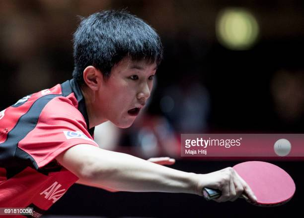Tomokazu Harimoto in action during Men's Singles eightfinals at Table Tennis World Championship at Messe Duesseldorf on June 3 2017 in Dusseldorf...