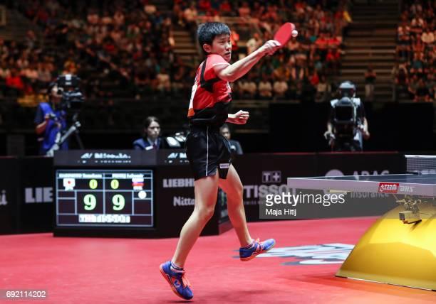 Tomokazu Harimoto in action during Men's Singles eightfinals at Table Tennis World Championship at Messe Duesseldorf on June 3 2017 in Dusseldorf...