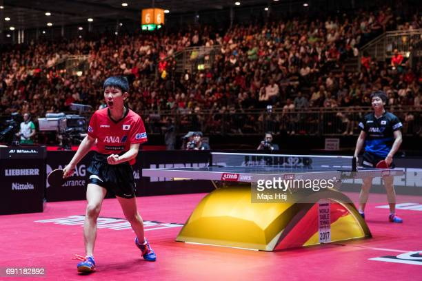 Tomokazu Harimoto of Japan celebrates during Men Single second round at Table Tennis World Championship at Messe Duesseldorf on June 1 2017 in...