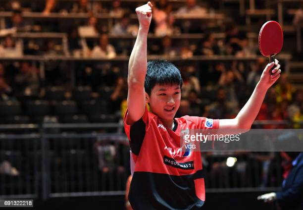Tomokazu Harimoto of Japan celebrates during Men's Singles second round match against Jun Mizutani of Japan on day 4 of World Table Tennis...