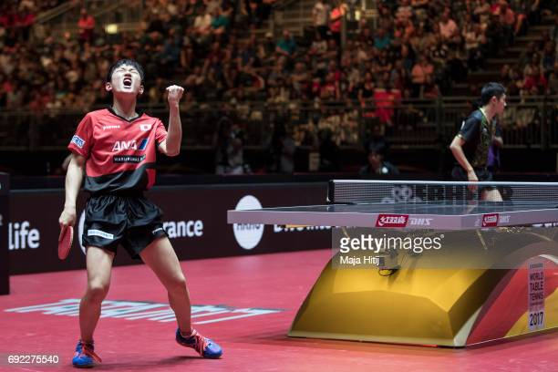 Tomokazu Harimoto of Japan reacts during Men's Singles quarter Final against Xin Xu of China at Table Tennis World Championship at at Messe...